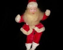 1950s Vintage Santa Doll Velvet Suit Painted Composition Face Harold Gale
