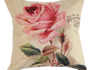 Vintage Pink Rose - Pillow Cover