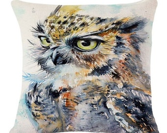 Watercolor Owl Gazing - Pillow Cover