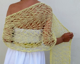 Linen scarf, wedding shawl, knit linen shawl, knit shawl, linen knit, wedding shawl, yellow shawl, dress cover up