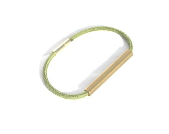 Brass Bar Bracelet Green