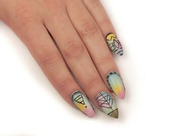 Colorful UV Gel Nails, Fake Nails, Press On Nails, Stiletto Nails, False Nails