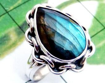Labradorite Ring, Labradorite Gemstone, Good Fire Labradorite, Handmade Ring, 925 Sterling Silver, Designer Ring, Women Birthday Gift Ring