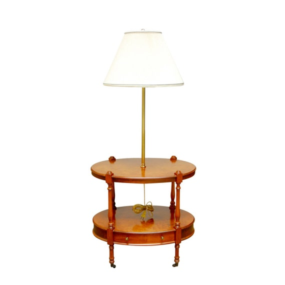 Two tier oval side table with brass lamp by frederick cooper for Table 52 chicago closing