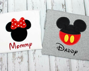 Mickey Mouse Daddy Minnie Mouse Minnie shirts,Vacation Shirts,Applique Embroidered Shirts.  Add Year