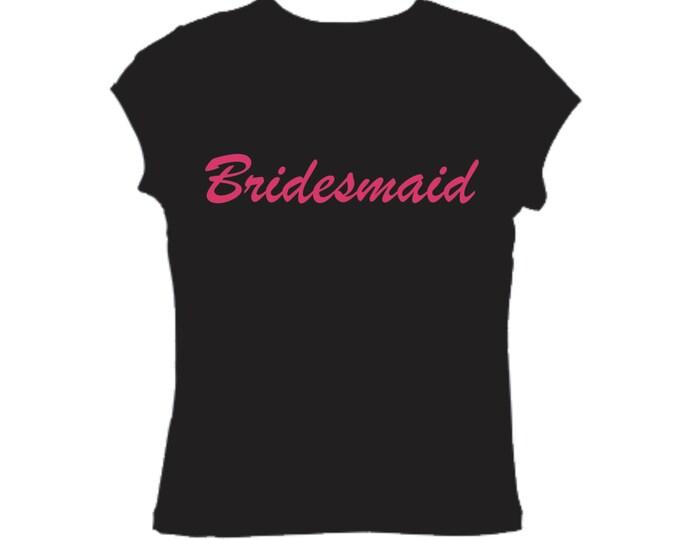 Bridesmaid T-Shirt. Bridesmaid Shirts. Short Sleeve Bridesmaid Crew Neck Shirt- Bridesmaid black tee / Hot Pink Ink