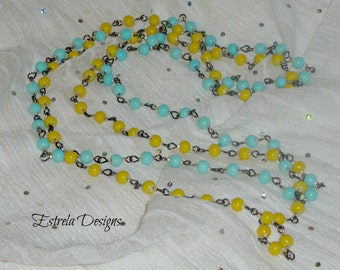 Pinup/Retro Neon & Pastel 1920s  -  Matinee Necklaces (Blue + Yellow)