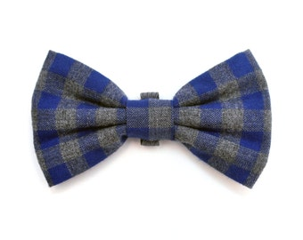 The Remsen Bow Tie - Dog Bowtie, Blue Flannel, Buffalo Plaid, Check, Fall, Rustic, Brooklyn Made, Bowtied