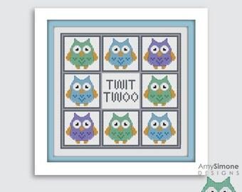 Owl Twit Twoo Cross Stitch Pattern