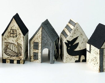 dreamtown - ceramic house - ceramic miniature - black and white - clay - pottery art - art - ceramic object - ceramic village - collection