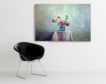 original oil painting, contemporary art, still life painting, flower painting, dahlia, large painting, canvas art