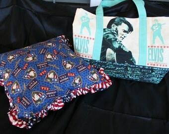 ELVIS Pillow and TOTE bag Set. Vintage Elvis Presley Fabric. Sales Benefit MCAR.