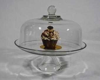 Elegant Cake Stand  Dome Cover * Inverted Cake Stand * Cake Plate * Cake Display Stand * Glass Dessert Display * Diner Dessert * Centerpiece