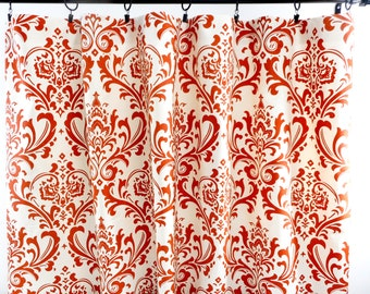 Orange  Curtains. Sweet Potato Orange Curtains. Sweet Potato and Beige Damask. Window Treatment. Cotton.unlined.Designers. Choose size