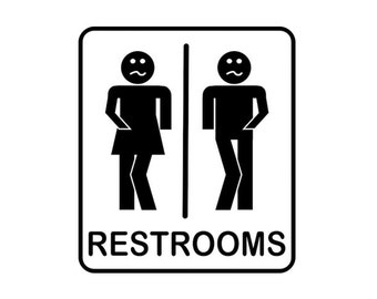 unisex restroom sign really gotta go to the bathroom di cut decal cartruckhomelaptopcomputerphone decal