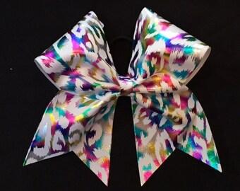 Leopard print pastel cheer bow