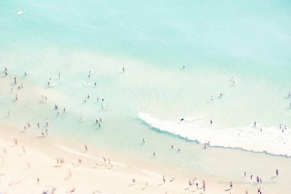 Beach photography, large art, aerial beach photo, dreamy pastel blue sea, ocean, people beach art, coastal wall decor, home  decor, wall art