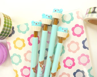 Cute kawaii Blue Bear Cupcake Pencil