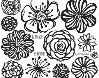 Flower Clipart, Hand Drawn Flower Outline, Digital Stamp Silhouette PNG, Photoshop Brush, Flower Doodles