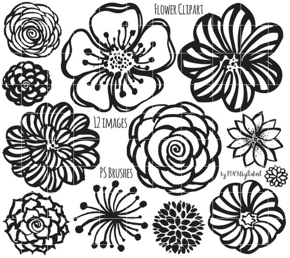 Flower Clipart Hand Drawn Flower Outline Digital Stamp