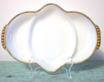 Vintage Anchor Hocking Fire King Gold Trimmed Milk Glass Divided Dishes
