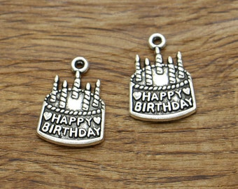 20pcs Happy Birthday Charms Antique Silver Tone Cake with Candles Charm 15x22mm 2039