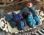 Set of Three Rough Peacock Ore-Chalcopyrite Mineral Specimen-Bornite -Rough Minerals-Meditation Tool -Reiki Healing