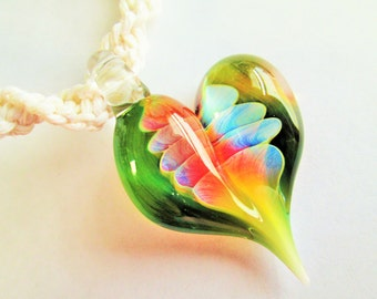 Gorgeous Hand Blown Glass Heart Pendant on Handmade White Hemp Twist Necklace