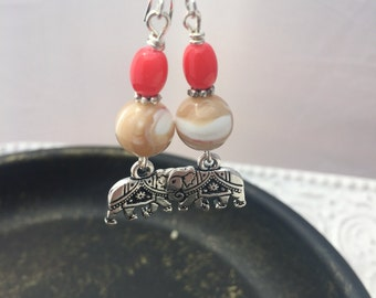 Elephant charm drop earrings