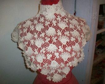 Antique lace collar Irish Crochet 1800s antique lace