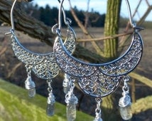 Cashmere - Silver Boho Tribal Filigree Hoop Earrings - Wire Wrapped Labradorite Drops - Hypoallergenic Titanium Or Sterling Silver Ear Wires