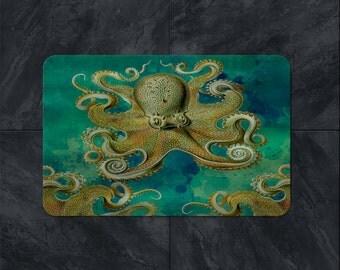 Teal Octopus Bath Mat, Tentacles, Sea life Decor