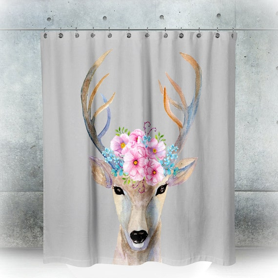 Shower Curtain Boho Chic Cottage Deer Pink Magnolia Floral