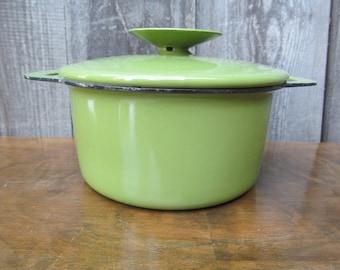 1960's Avocado Green Enameled Pot with Lid - Mini Dutch Oven- Mini Fondue