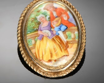 Limoges France painted porcelain brooch