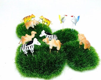 10 Tiny safari mix Animal Miniature Dollhouse Fairy Garden Accessories