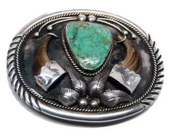 Delagarito-signed Navajo sterling silver vintage belt buckle