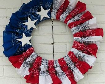 "25"" Red White and Blue Bandana Wreath"
