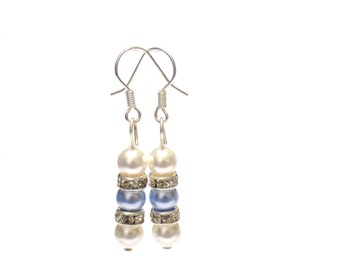 white pearl earrings, Swarovski white pearl earrings , swarovski earrings , pearl earrings , white earrings , bridal earrings