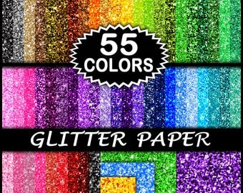 Sale Glitter Paper Set - 55 Handmade Papers - Printable Digital Downloads For Digi Scrapbooking, Teachers, Crafts & Commercial Use, 8.5x11""