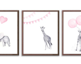 Baby Girl Art, Elephant Art, Pink Animal Art, Nursery Wall Art, Girls Art, Girl Nursery, Limited Edition Set Of Three Art Prints - SO64W