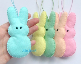 Marshmallow bunny, Easter Bunny Ornaments, Set of 5 Felt Bunny Ornaments, Easter Ornament Set, Easter Bunting, Rabbit Garland, Easter