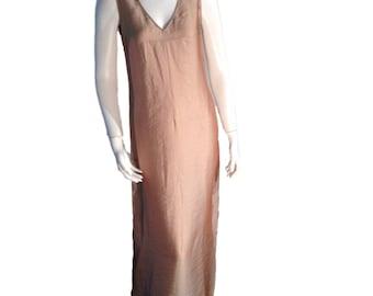 DKNY Muted Gold Iridescent V-neck Long Dress - Size 8