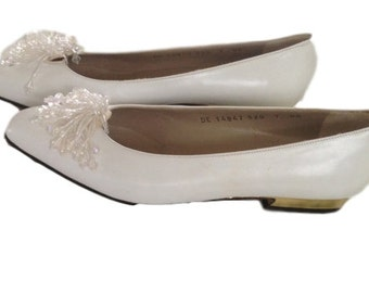 Salvatore Ferragamo White Heels with Jeweled Tassels (Size 7 AA) - Like New