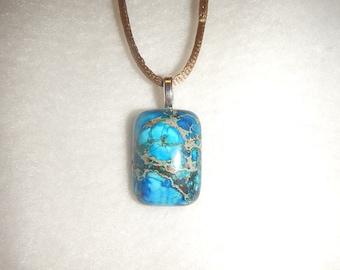 Small Blue Sea Sediment Jasper pendant necklace (JO165)