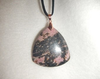 Black and Pink Rhodonite pendant (JO507)