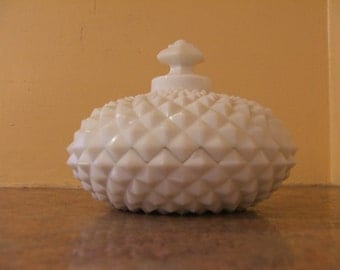 Vintage 1950s Westmoreland Milk Glass Geometric Diamond Point Covered Dish