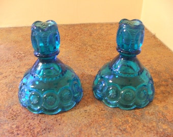 Pair of Vintage 1960s L. E. Smith Moon and Stars Blue Candle Holders