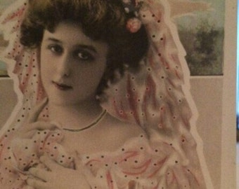 Hand Tinted Postcard/Photo of French Actress Robinne, Reutlinger Original 1903 Signed Postcard