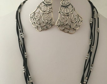 Silpada Flamenco Flair Earrings Starbright Pendant & Black Leatherette Seed Section Necklace 925 Sterling Silver